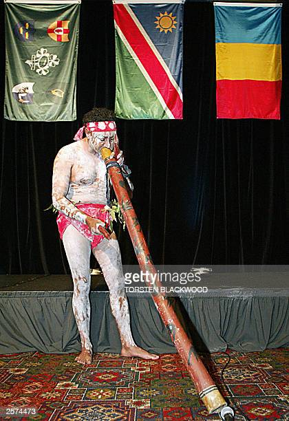 Darkinjung Aborigine Kevin Duncan plays the didgeridoo to welcome the Romanian Namibian and Irish teams to the capping ceremony for the Rugby World...