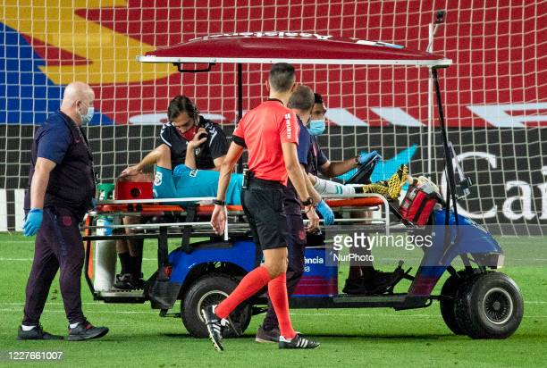 Darko Brasanac injured during the match between FC Barcelona and Club Atletico Osasuna corresponding to the week 37 of the Liga Santander played at...