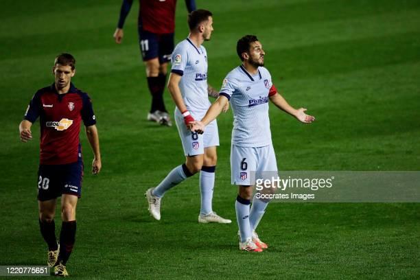 Darko Brasanac of CA Osasuna Saul Niguez of Atletico Madrid Koke of Atletico Madrid during the La Liga Santander match between Osasuna v Atletico...