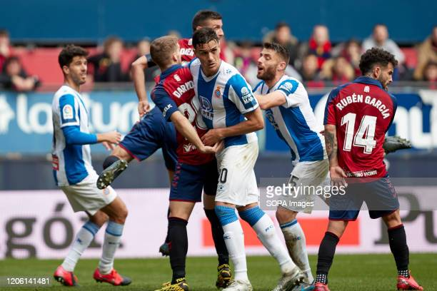 Darko Brasanac Sergi Darder Moll David López Silva and Oier Sanjurjo are seen in action during the Spanish football of La Liga Santander match...