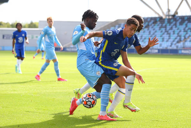 Darko Gyabi of Manchester City during the Premier League 2 match between Manchester City and Chelsea at Manchester City Football Academy on September...