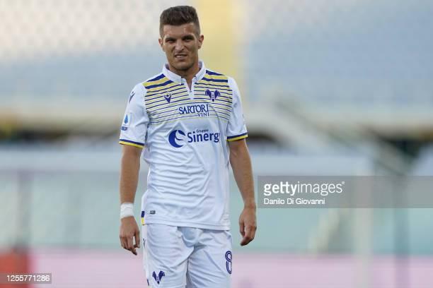 Darko Lazović of Hellas Verona during the Serie A match between ACF Fiorentina and Hellas Verona at Stadio Artemio Franchi on July 12, 2020 in...