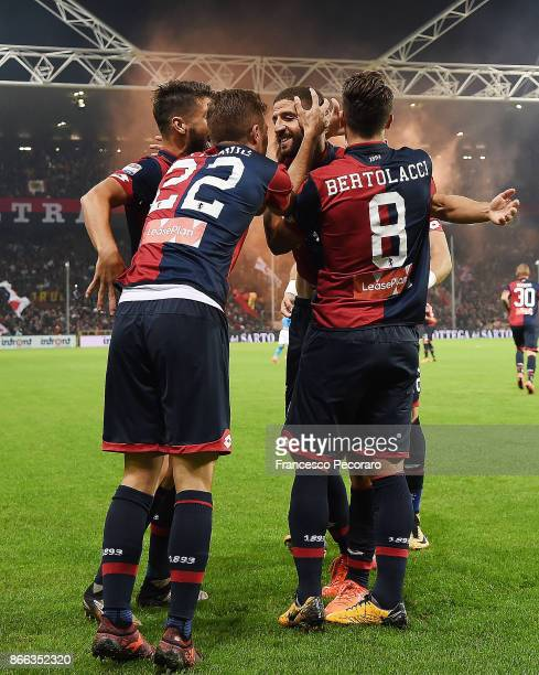 Darko Lazovic and Adel Taarabt of Genoa CFC celebrate the 10 goal scored by Adel Taarabt during the Serie A match between Genoa CFC and SSC Napoli at...