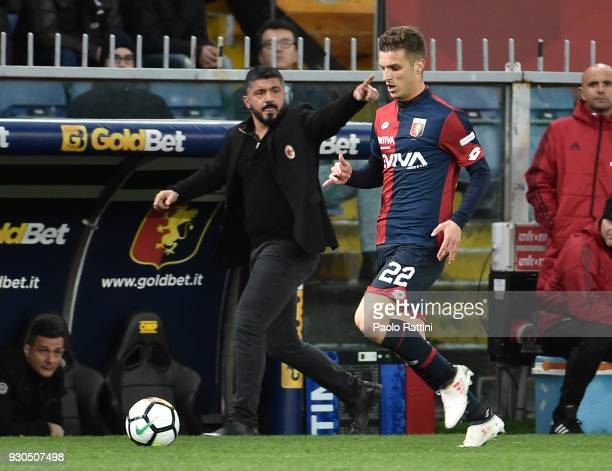 Darko Lazovic of Genoa and Gennaro Gattuso head coach of Milan during the serie A match between Genoa CFC and AC Milan at Stadio Luigi Ferraris on...