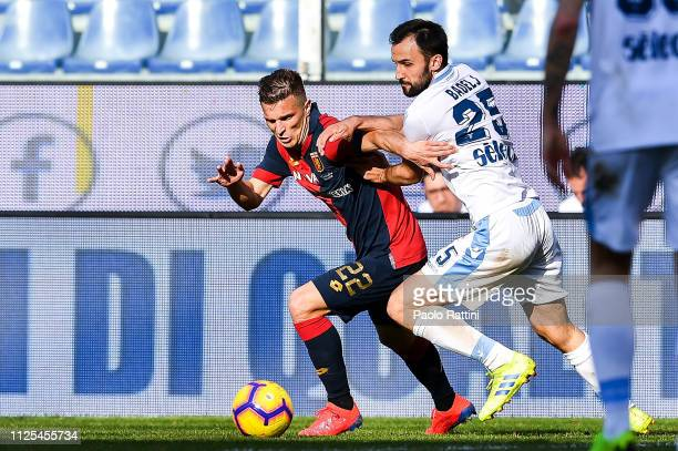 Darko Lazovic of Genoa and Milan Badelj of Lazio vie for the ball during the Serie A match between Genoa CFC and SS Lazio at Stadio Luigi Ferraris on...