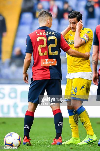 Darko Lazovic of Genoa comforts Francesco Cassata of Frosinone after he has been sent off during the Serie A match between Genoa CFC and Frosinone...