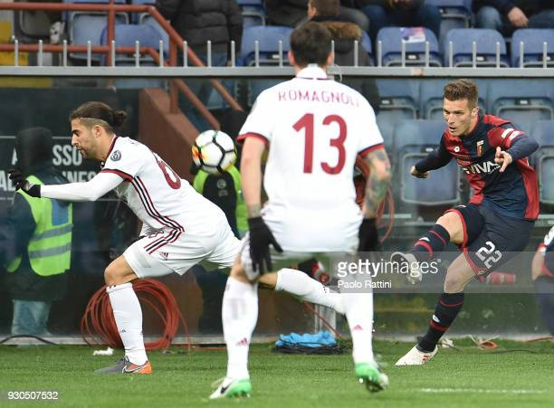 Darko Lazovic of Genoa in action during the serie A match between Genoa CFC and AC Milan at Stadio Luigi Ferraris on March 11 2018 in Genoa Italy