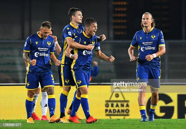 Darko Lazovic of Hellas Verona celebrates after scoring his team third goal during the Serie A match between Hellas Verona FC and Benevento Calcio at...