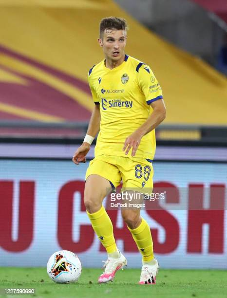 Darko Lazovic of Hellas Verona controls the ball during the Serie A match between AS Roma and Hellas Verona at Stadio Olimpico on July 15, 2020 in...
