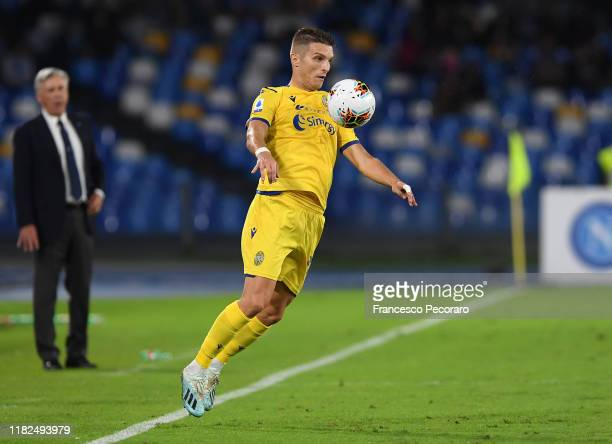 Darko Lazovic of Hellas Verona during the Serie A match between SSC Napoli and Hellas Verona at Stadio San Paolo on October 19, 2019 in Naples, Italy.