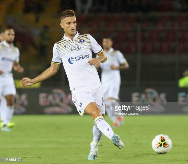 Darko Lazovic of Hellas Verona during the Serie A match between US Lecce and Hellas Verona at Stadio Via del Mare on September 1, 2019 in Lecce,...