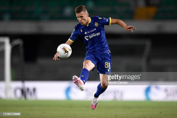Darko Lazovic of Hellas Verona in action during the Serie A football match between Hellas Verona and FC Internazionale. The match ended in a 2-2 tie.