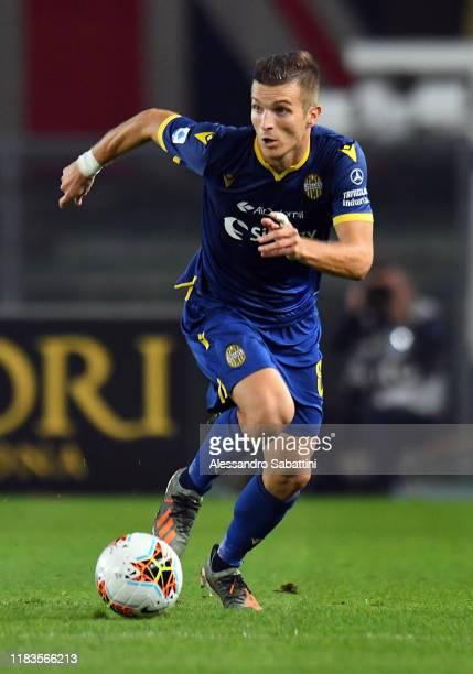Darko Lazovic of Hellas Verona in action during the Serie A match between Hellas Verona and US Sassuolo at Stadio Marcantonio Bentegodi on October...
