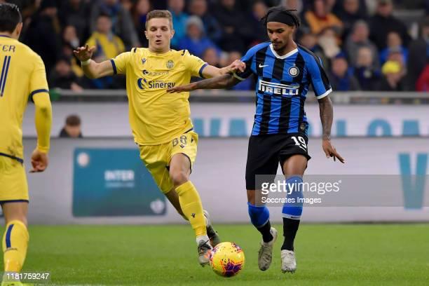 Darko Lazovic of Hellas Verona, Valentino Lazaro of FC Internazionale Milano during the Italian Serie A match between Internazionale v Hellas Verona...