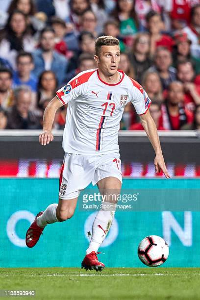 Darko Lazovic of Serbia in action during the 2020 UEFA European Championships group B qualifying match between Portugal and Serbia at Estadio do...