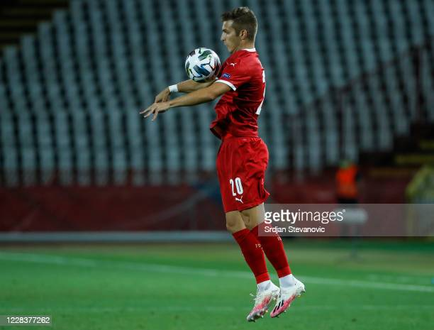 Darko Lazovic of Serbia in action during the UEFA Nations League group stage match between Serbia and Turkey at Rajko Mitic Stadium on September 6,...