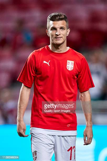 Darko Lazovic of Serbia looks on prior to the 2020 UEFA European Championships group B qualifying match between Portugal and Serbia at Estadio do...