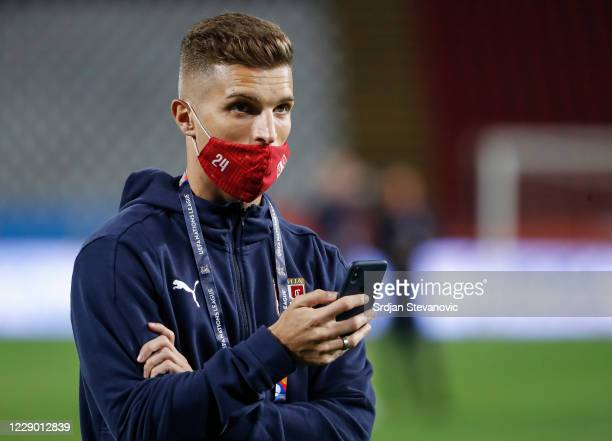 Darko Lazovic of Serbia looks on prior to the UEFA Nations League group stage match between Serbia and Hungary at Rajko Mitic Stadium on October 11,...