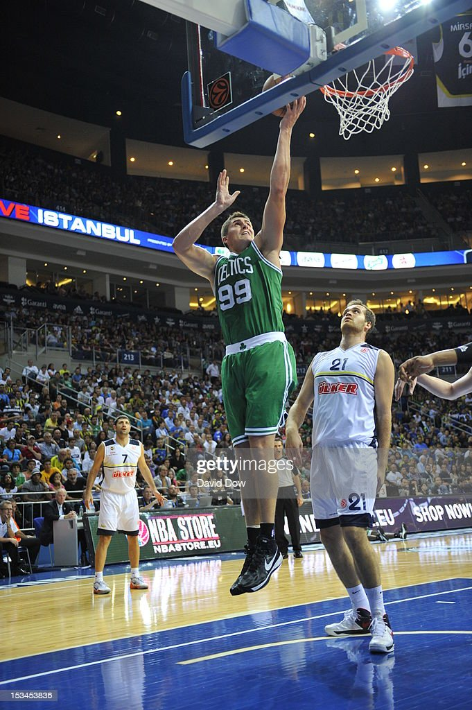 Darko Milicic #99 of the Boston Celtics drives to the basket against the Fenerbahce Ulker during the NBA Europe Live Tour on October 5, 2012 at the Ulker Sports Arena in Istanbul, Asia.