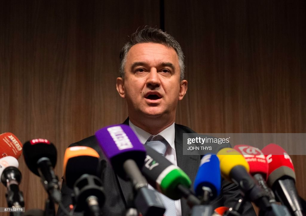 Darko Mladic, the son of Ratko Mladic, gives a joint press in The Hague, on November 22, 2017, after the verdict in the genocide trial of former Bosnian Serbian commander Ratko Mladic. United Nations judges in The Hague sentenced Mladic, dubbed the 'Butcher of Bosnia', to life in jail for crimes committed during the 1992-1995 war that killed 100,000 people as ethnic rivalries tore apart Yugoslavia. /