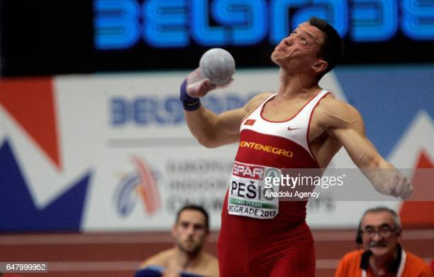 Darko Pesic of Montenegro competes in the Men's Heptathlon Shot Put on day two of the 2017 European Athletics Indoor Championships at the Kombank...