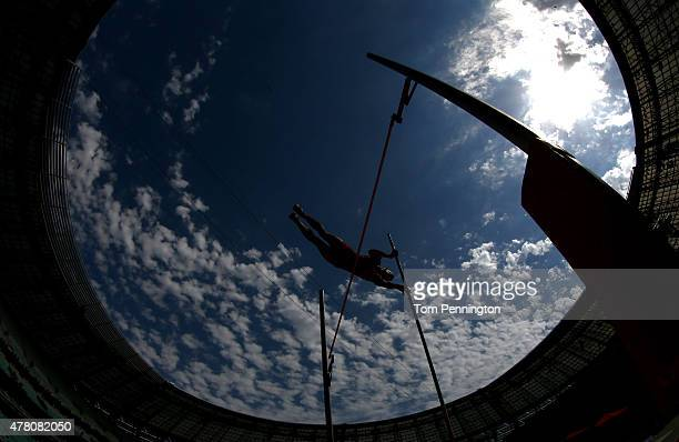 Darko Pesic of Montenegro competes in the Men's Pole Vault during day ten of the Baku 2015 European Games at the Olympic Stadium on June 22 2015 in...