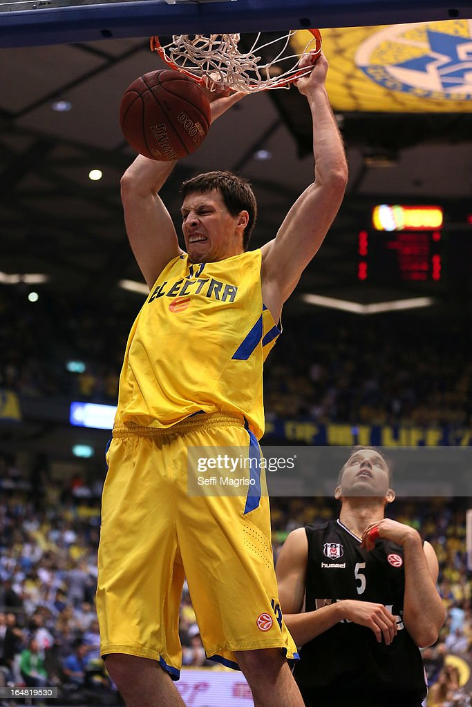 Darko Planinic, #13 of Maccabi Electra Tel Aviv in action during the 2012-2013 Turkish Airlines Euroleague Top 16 Date 13 between Maccabi Electra Tel Aviv v Besiktas JK Istanbul at Nokia Arena on March 28, 2013 in Tel Aviv, Israel.