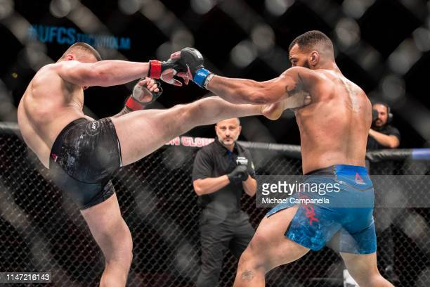 Darko Stosic lands a kick on Devin Clark during the UFC Fight Night event at the Ericsson Globe Arena on June 1 2019 in Stockholm Sweden