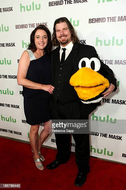 Darla Culver and AHL hockey's Tux the Penguin mascot Chad Spencer at Hulu Presents The LA Premiere Of 'Behind the Mask' at the Vista Theatre on...