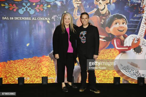 Darla K Anderson and Lee Unkrich attend 'Coco' photocall at Hotel De Russie on November 20 2017 in Rome Italy
