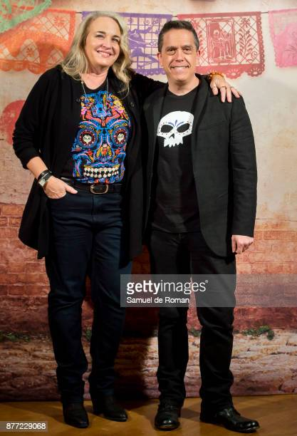 Darla K Anderson and Lee Unkrich during 'Coco' Madrid Photocall on November 22 2017 in Madrid Spain