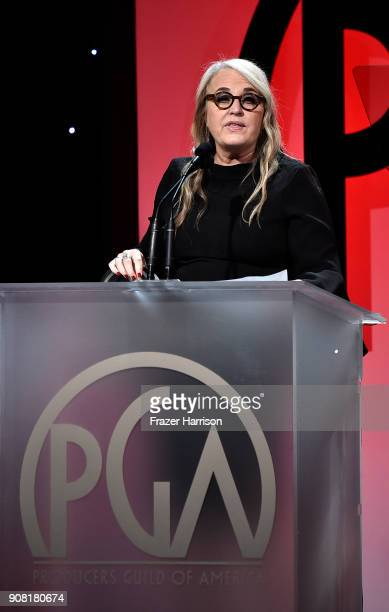 Darla K Anderson on stage at the 29th Annual Producers Guild Awards at The Beverly Hilton Hotel on January 20 2018 in Beverly Hills California