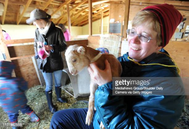 Darlene Ericson holds one of the younger goats Mountain Flower Goat Dairy in Boulder held a 'baby goat shower' on Saturday