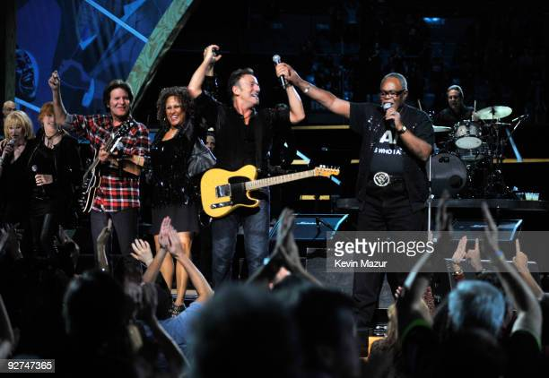 Darlene Love John Fogerty Bruce Springsteen and The E Street Band and Sam Moore performs on stage for the 25th Anniversary Rock Roll Hall of Fame...