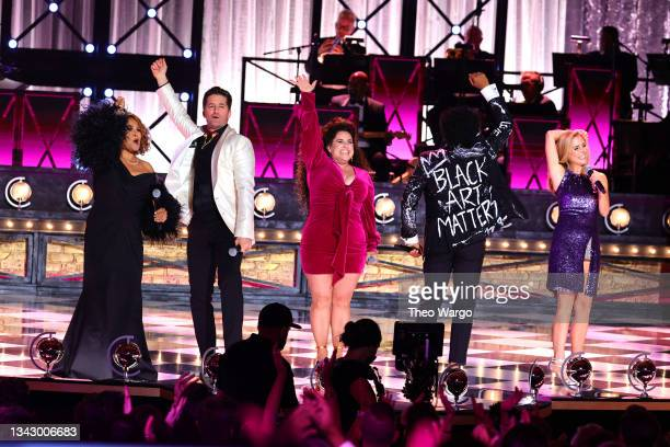 Darlene Love, Matthew Morrison, Marissa Jaret Winokur, Chester Gregory, and Kerry Butler perform onstage during the 74th Annual Tony Awards at Winter...