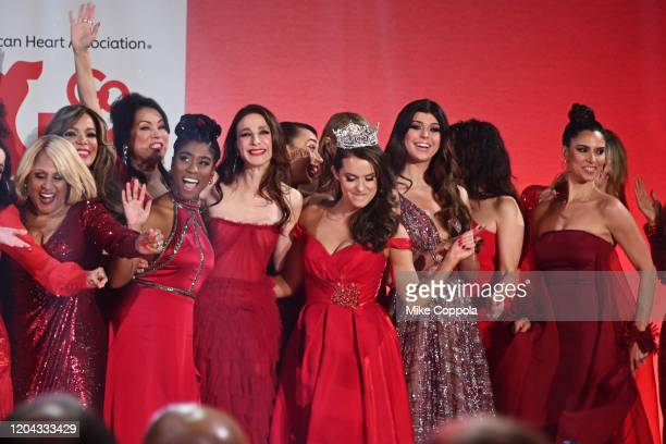Darlene Love Sunny Hostin Lyric Ross Marin Hinkle Eva Gutowski Camille Schrier Loren Gray and Roselyn Sanchez pose on the runway at The American...
