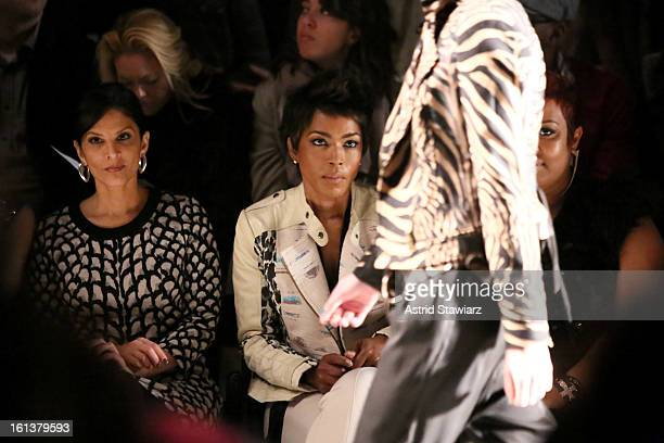 Darlene Rodriguez and Angela Bassett attend the Tracy Reese Fall 2013 fashion show with TRESemme during MercedesBenz Fashion Week at The Studio at...