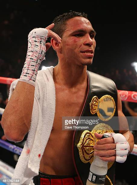 Darleys Perez celebrates after his fight with Anthony Crolla was announced as a draw during their WBA World Lightweight Championship contest at the...