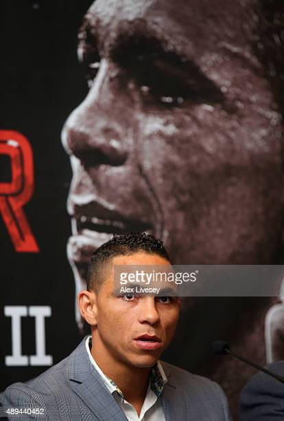 Darleys Perez II faces the media during a press conference to promote his forthcoming rematch with Anthony Crolla at the Radisson Blu Hotel on...