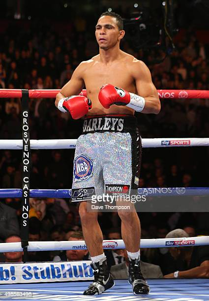 Darleys Perez in action against Anthony Crolla during their WBA World Lightweight Championship bout at the Manchester Arena on November 21 2015 in...