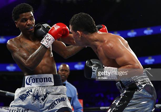 Darleys Perez of Colombia lands a right to the head of Maurice Hooker during their junior welterweights bout at TMobile Arena on November 19 2016 in...