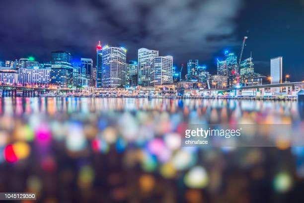 darling harbor defocused,sydney - darling harbour stock pictures, royalty-free photos & images