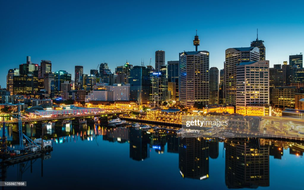 Darling Harbor Sydney Cityscape at Night Australia : Stock Photo