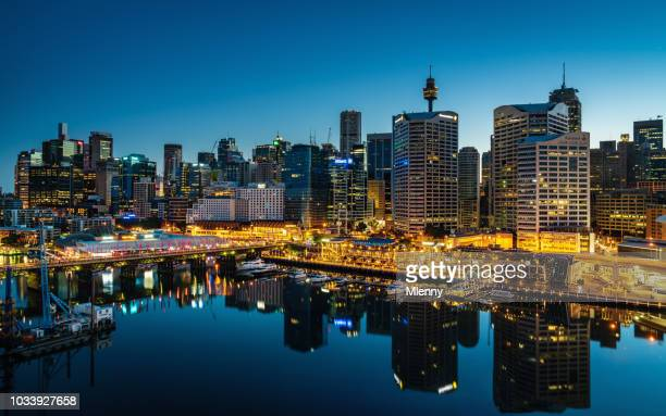 darling harbor sydney cityscape at night australia - sydney stock pictures, royalty-free photos & images