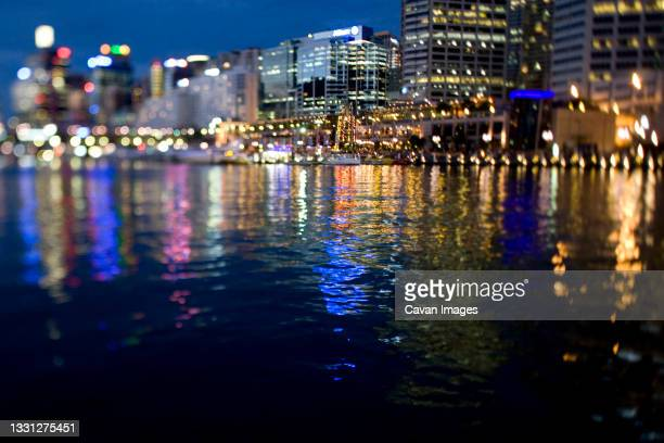 darling harbor, sydney, new south wales, australia at dusk. - darling harbour stock pictures, royalty-free photos & images