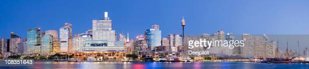 darling harbour city skyline in sydney australia - darling harbour stock pictures, royalty-free photos & images