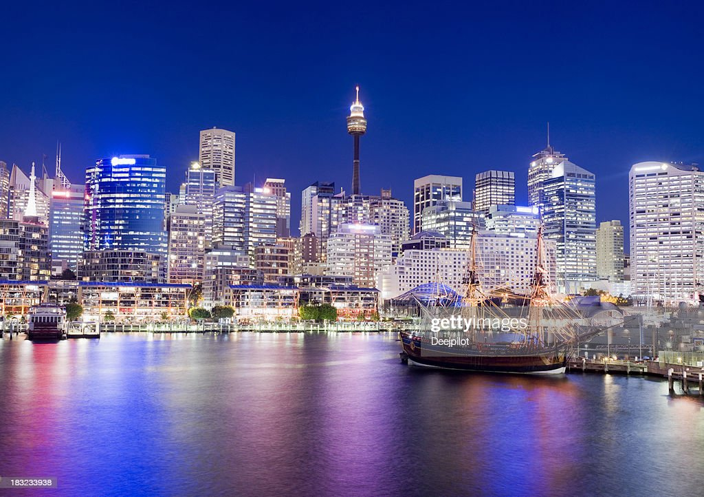 Darling Harbour City Skyline in Sydney Australia : Stock Photo