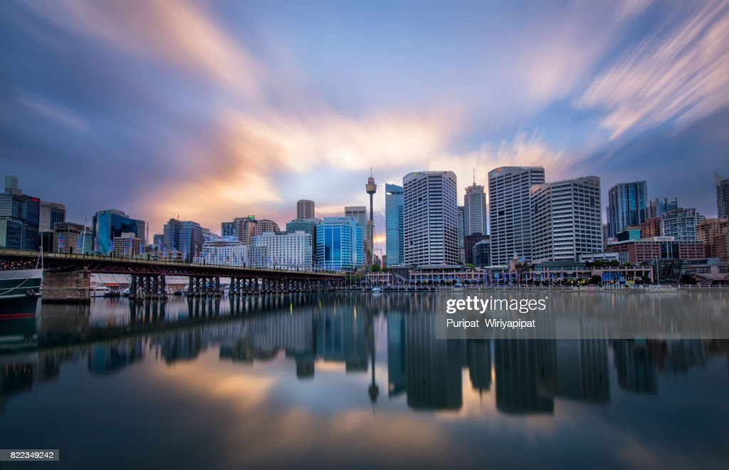 Darling harbour reflection : Stock Photo