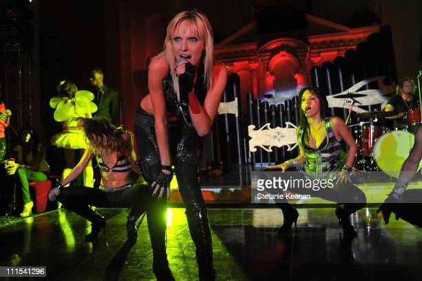 """Darling Stilettos perform during the grand opening of """"Pandora"""" at Vibiana on October 27, 2009 in Los Angeles, California."""