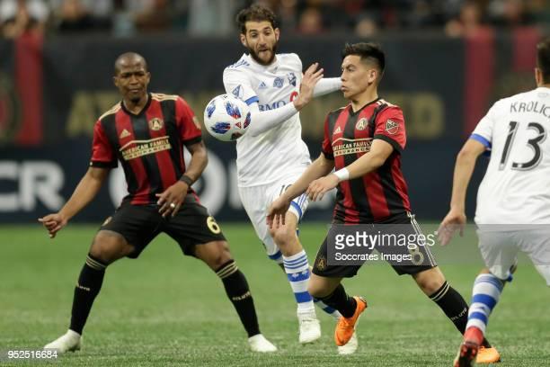 Darlington Nagbe of Atlanta United Ignacio Piatti of Montreal Impact Ezequiel Barco of Atlanta United during the match between Atlanta United FC v...